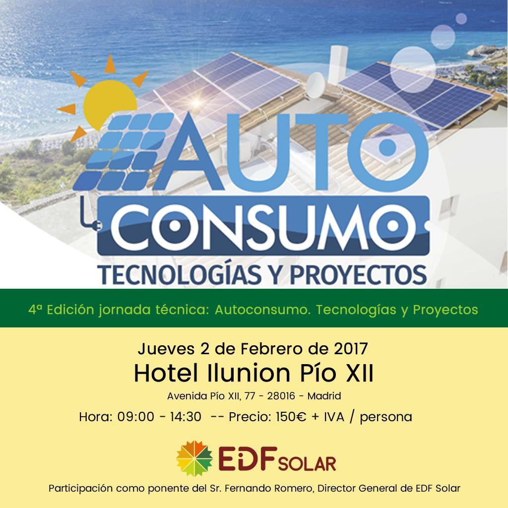 EDF Solar en la jornada técnica Autoconsumo. Tecnologías y Proyectos