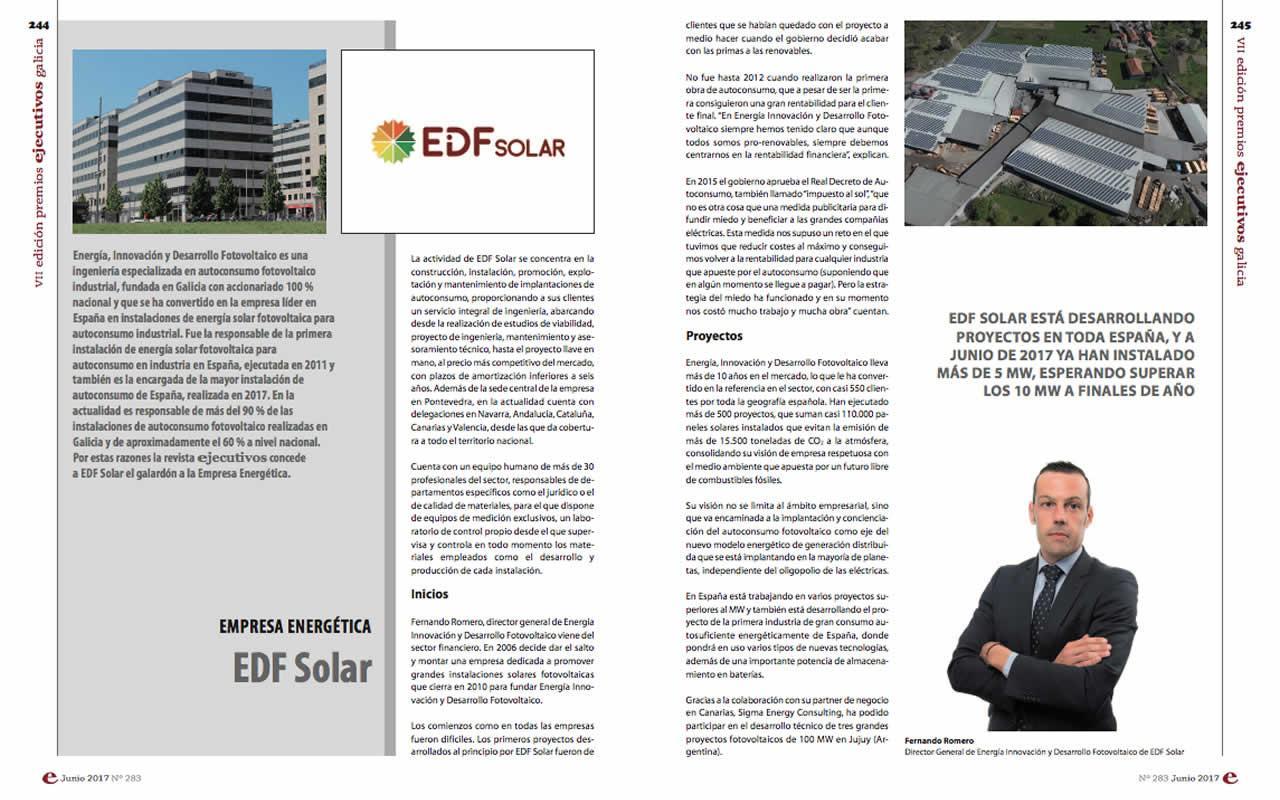EDF Solar galardonada como mejor empresa energética de Galicia 2017