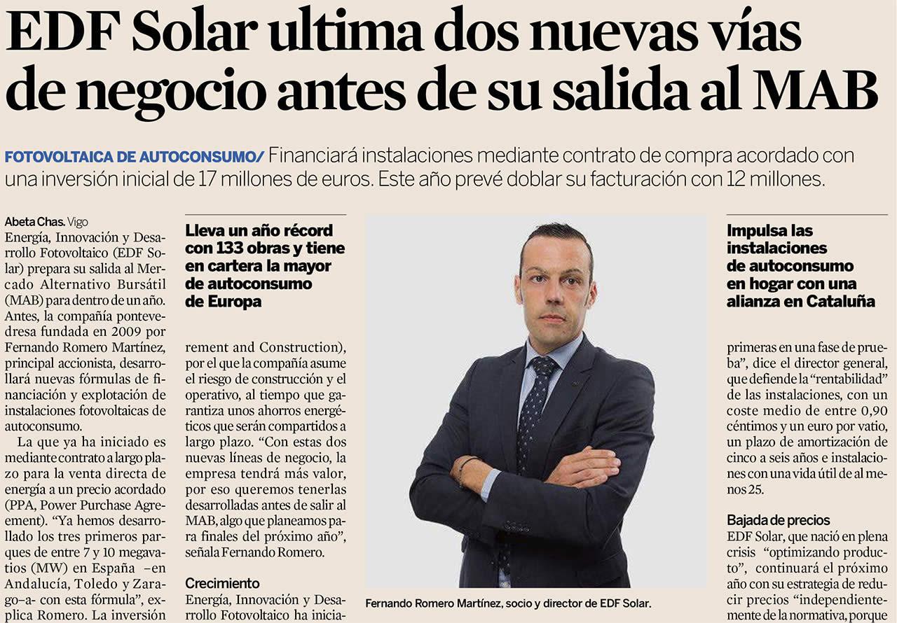 Artículo sobre EDF Solar en Expansión - Septiembre 2017