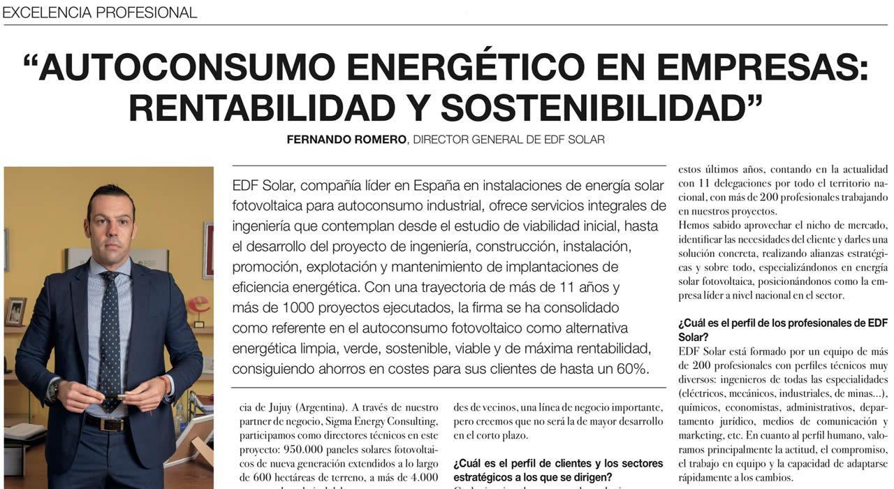 Entrevista a Fernando Romero, Director de EDF Solar, en El Pais
