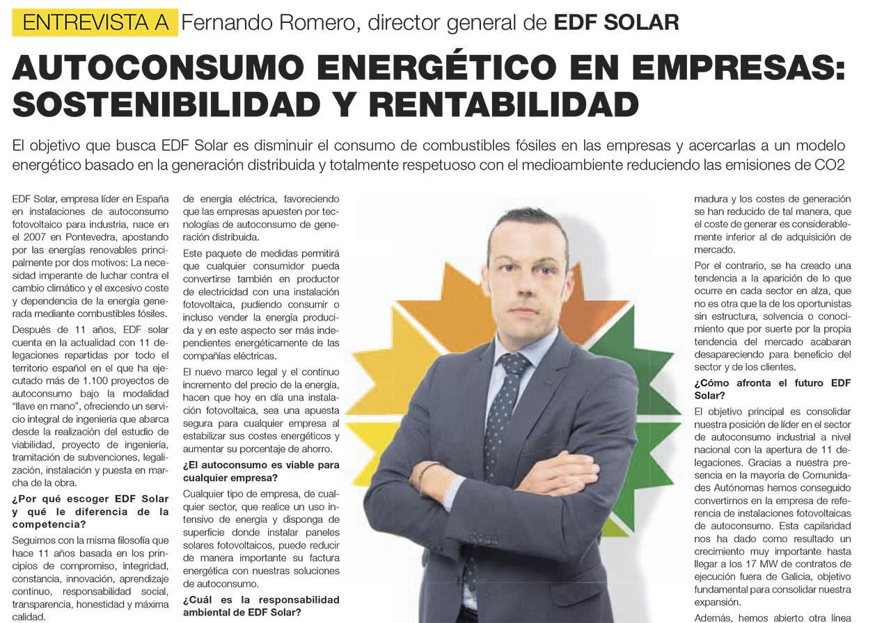 Entrevista a Fernando Romero, Director EDF Solar en La Voz de Galicia, Junio 2019