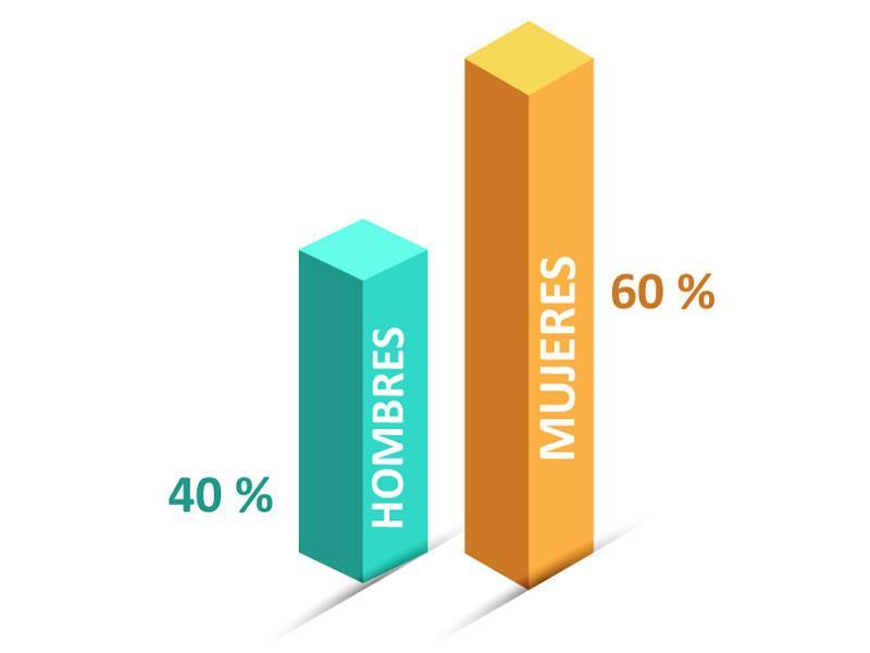 Porcentaje de plantilla Eidf Solar 2019 segmentado por sexo