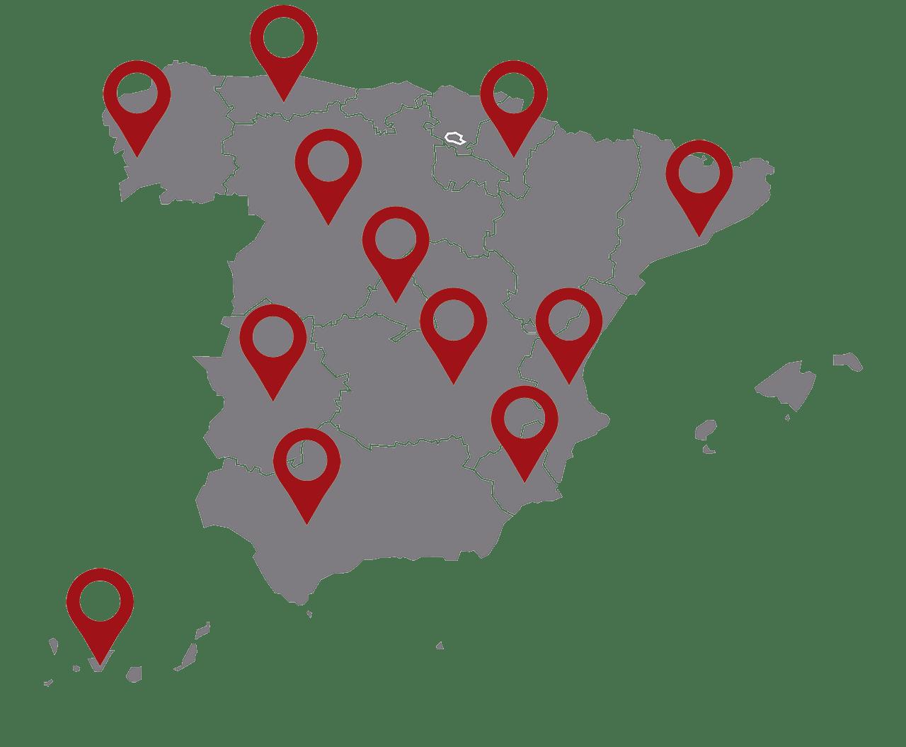 Mapa de delegaciones EDF Solar 2020